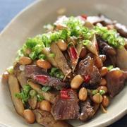 大豆と牛すじ肉とごぼうのピリ辛炒め
