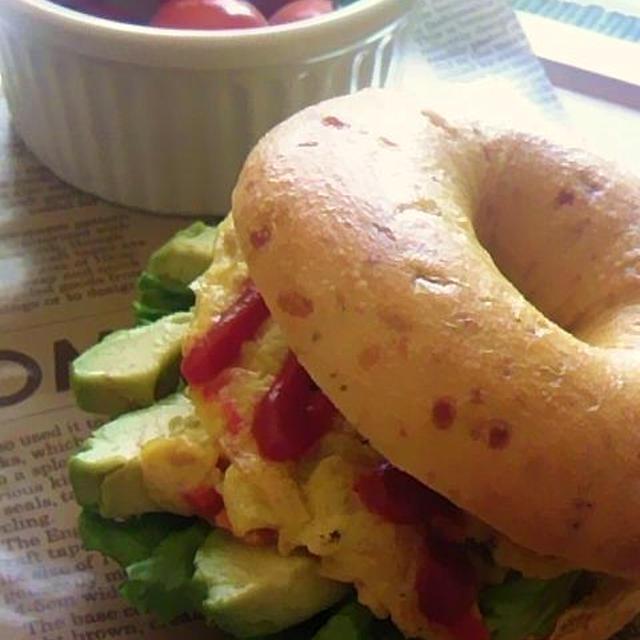 【手順画像有】<bagel&bagel>のトマト&パルメザンベーグルdeワンプレート