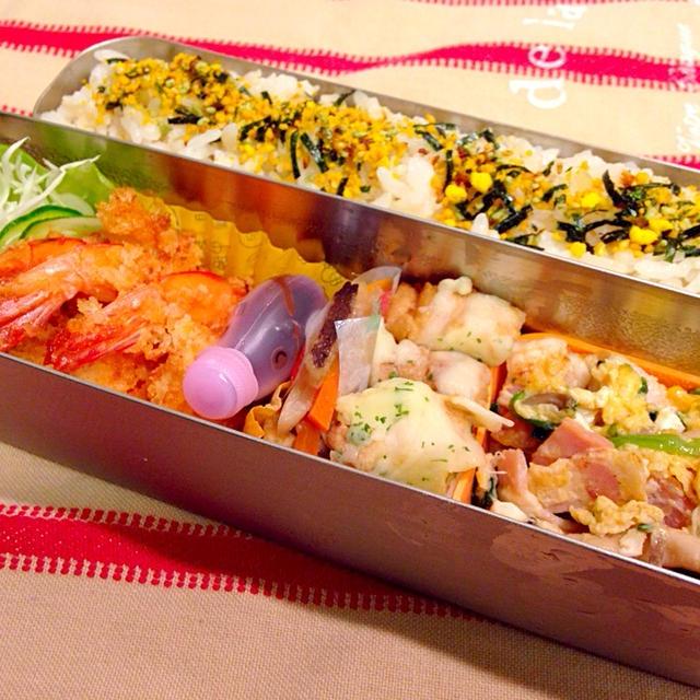 海老フライ弁当と揚げワンタン