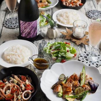 豚肉と夏野菜のオリーブレモンソテー&いかのギリシャ風焼き♪プロセッコDOCとマリアージュ