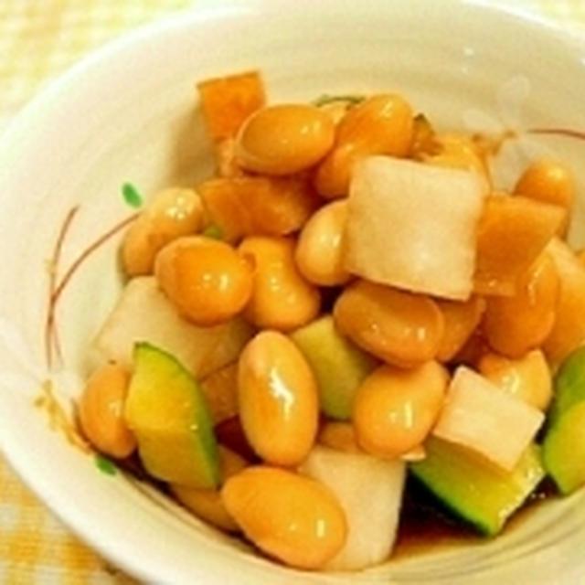 【うちレシピ】箸が止まらない~♪大豆のにんにく醤油漬け☆切って漬けるだけ