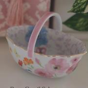 アラベスク全面貼り!花柄可愛いバスケット☆ポーセラーツインストラクター課題