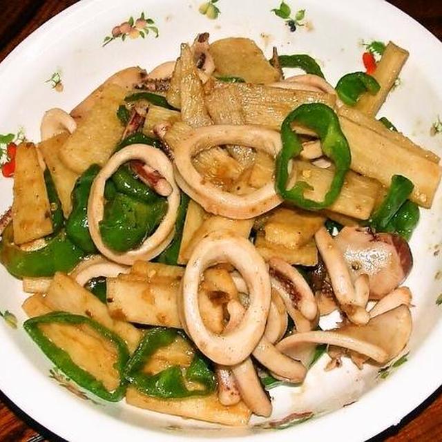 イカと長芋のオイスターソース…ナンプラー炒め&大根としめじと豆腐の中華スープ