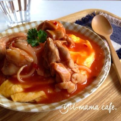 ジップロックで!鶏のチリソースオムレツ丼〜オムライス風?〜