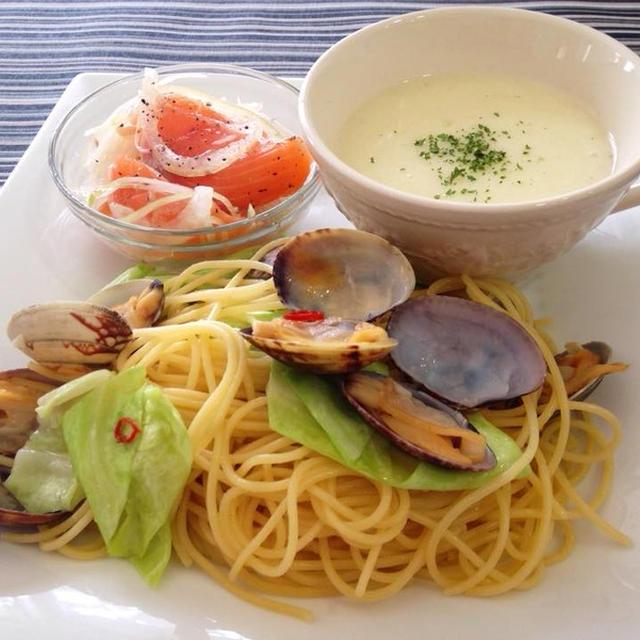 鉄腕DUSHで大人気!キャベツのペペロンチーノと春野菜のワンプレート