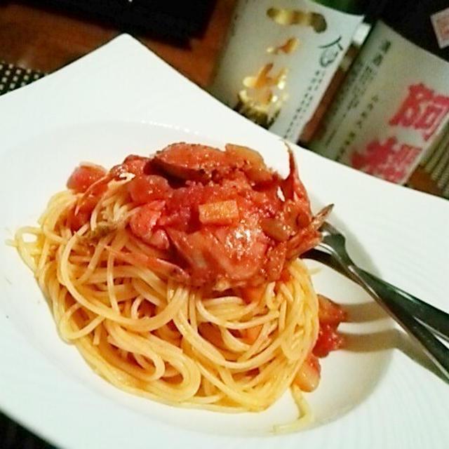 ワインも日本酒もすすむ、平蟹のペスカトーレ