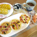 ミニピザで朝食 と ちゃんぽん麺&餃子の晩ご飯 と ブッドレアの花♪