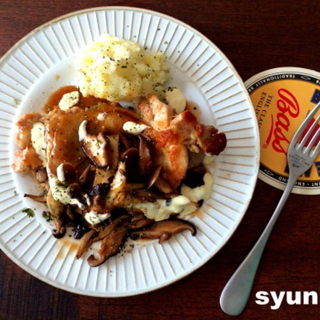 【簡単!!!】おすすめ!鶏肉の甘辛きのこ&マヨだれマッシュポテト添え