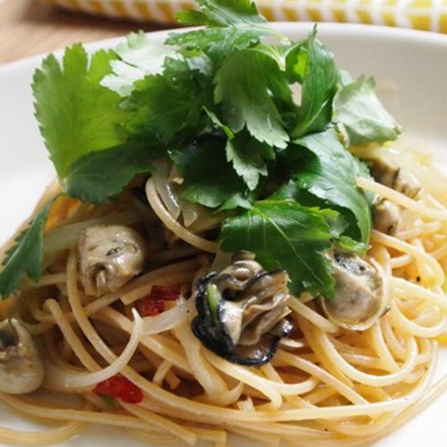 オイル牡蠣と三つ葉の和風パスタ