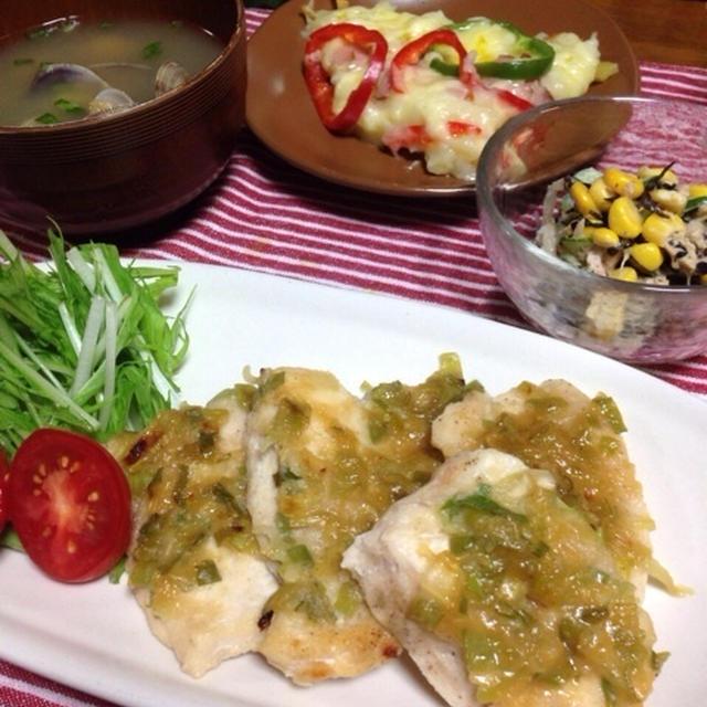 【簡単】混ぜて焼くだけ〜胸肉のネギ味噌焼き/ひじきとツナと色々野菜の和え物