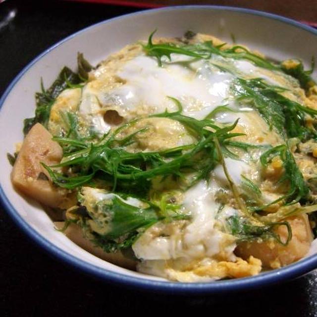 若竹と水菜の卵とじ丼