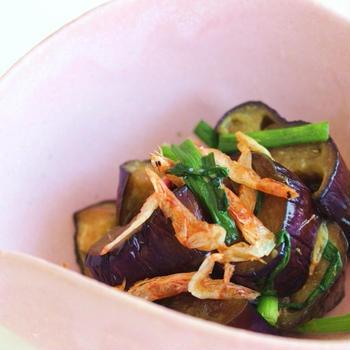 なすのハニー醤油炒め 干しエビと共に  Sauted Eggplant with Honey and Soy Sauce Dried Shrimps go togather