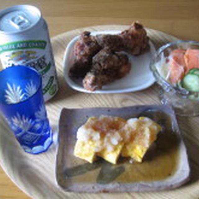サーモンのマリネと鶏肉竜田揚げ