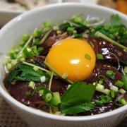 奥義~カツオのユッケ丼&ブロッコリーとれんこんのサラダ~