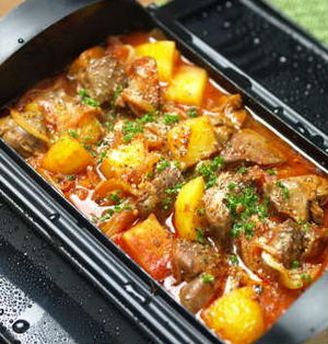 鶏レバーとじゃがいものトマト煮 、 ルクエで電子レンジレシピ