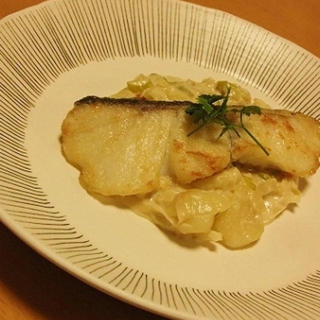 鱈のムニエル 下仁田ネギとじゃが芋のクリームソース