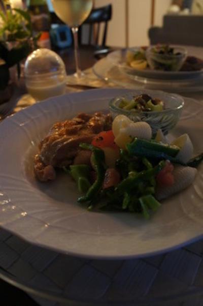 チキンのガーリックソテー。オレキエッテと色とりどりのサラダ。又またsgr×末國さん。スパイス教室
