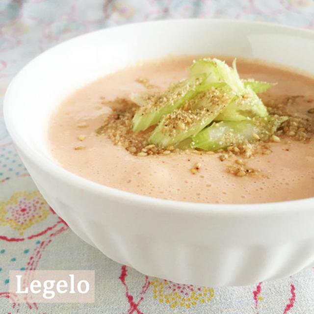 夏バテに♪ 完熟トマトの豆乳味噌 冷たいスープ☆セロリ、すりごま♪