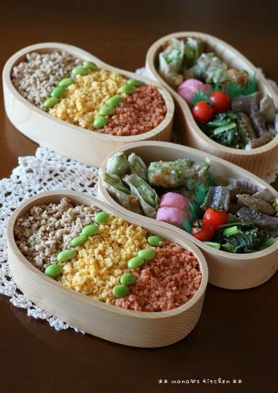 3色そぼろ丼と天ぷらセット ✿ カジキのお刺身といろいろ(๑¯﹃¯๑)♪