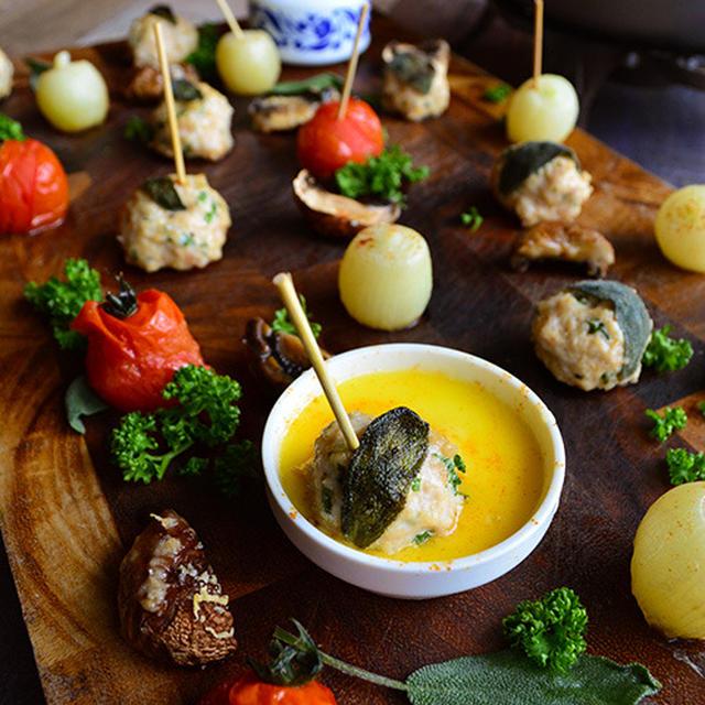 パセリとセージと4種のペパーミートピンチョス を チーズフォンデュにつけて食べちゃう  - スパイス大使 -