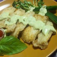 バジル♪マヨディップを*ソースに<秋刀魚塩麹竜田&ホースラディッシュカジキマグロ(キッチンラボ)