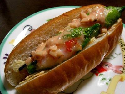 しし唐の海老詰めと茄子のチーズドッグ