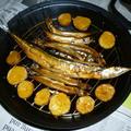 燻製鍋で汐秋刀魚*子持ちししゃも+男爵の燻製