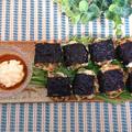 前田屋さんの海苔で、水菜しゃきしゃき海苔巻きひとくちつくね