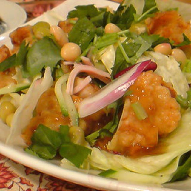 鶏唐揚げサラダにのっけてジュレ ポン酢。