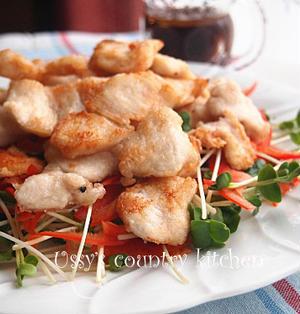鶏むね肉の揚げ焼きサラダ