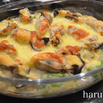 牡蠣と菜の花のマカロニグラタン♬