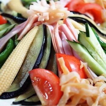 ■昼麺【冷やし中華】菜園揚げ野菜を乗っけてみましたが 美味しくてかなりお気に入りです♪