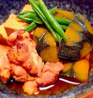 旨すぎる!炙り鶏肉とかぼちゃと厚揚げの煮物!