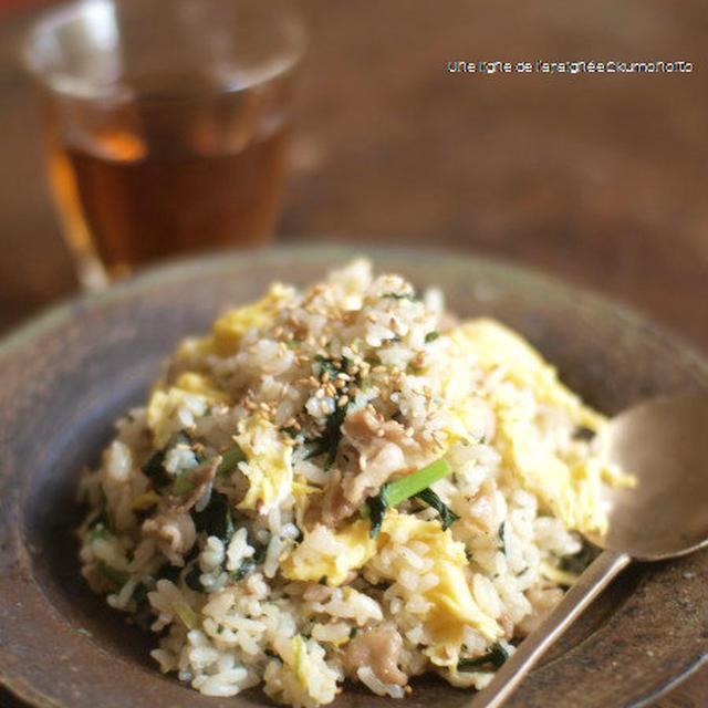小松菜と豚バラのオイスター炒飯。