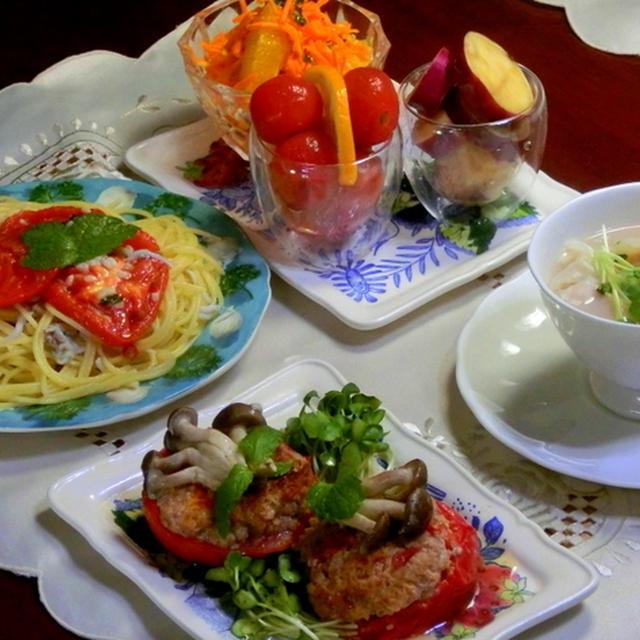 トマト尽くしでリコピンいっぱいの夕食!  トマトの肉詰め!  焼きトマトとシラスアンチョビのパスタ!!