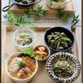海鮮寿司!砂肝とにんにくの芽のスパイス炒め!で、おうち居酒屋♪