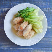 ネギ塩豚ロールと青梗菜のあんかけ