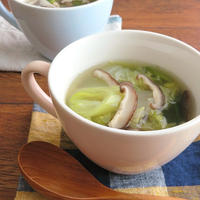 ほっこり簡単♪はくさいとしいたけのねぎ生姜スープ