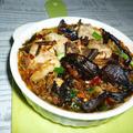 厚切り豚ロースとニラ・椎茸のアヒージョ