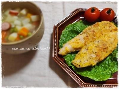 鶏のささ身の塩麹ピカタ