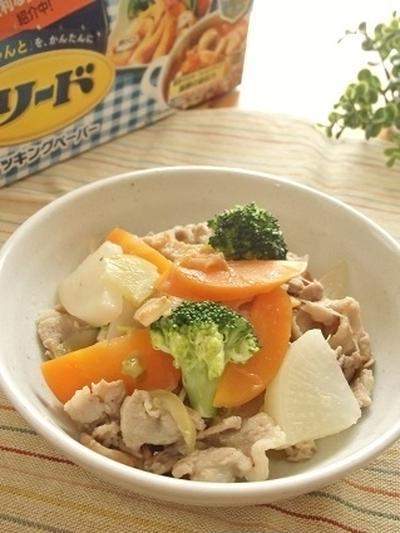 ニンニク風味!たっぷり根菜と豚肉の炒め煮