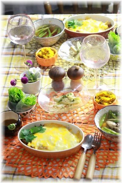 お豆腐で作るホワイトソースのミートマカロニグラタン。 と 献立。