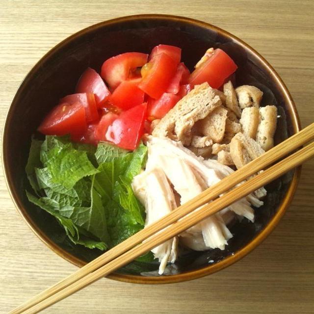 揚げの甘辛煮載せ、ぶっかけ素麺