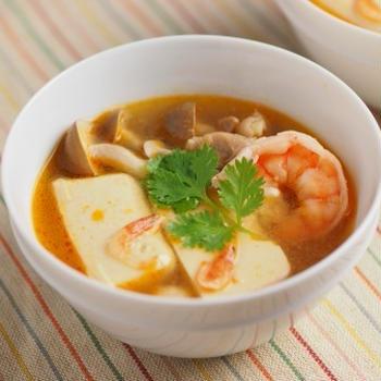 カレー豆腐のエスニックスープ、男前豆腐レシピ