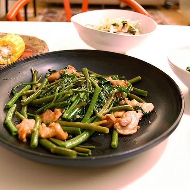 レシピ:空心菜と鶏肉の炒め物