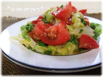 トマト&キャベツの粒マスタードサラダ&チキンハーブ焼レモン添え