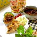 本みりんと料理のための清酒で作る「ねぎ味噌」の焼おにぎりとチキンステーキプレート