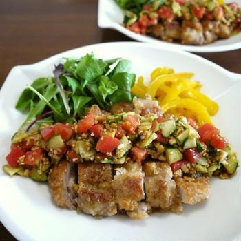【掲載】くらしのアンテナ(レシピブログ)★サクサク鶏もも肉のサッパリ中華ソースがけ♪