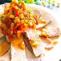 食べる野菜ドレッシング♪ ボイルポーク☆カラフル野菜の海苔ドレかけ