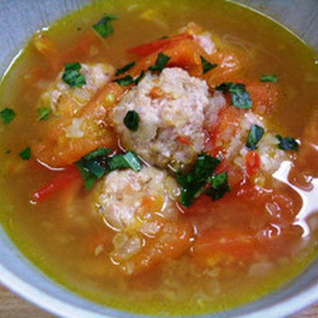 トマトとミートボールのカレースープ